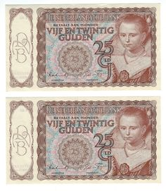 NETHERLANDS   1944   25 Gulden   Pair CONSECUTIVE Banknotes   UNC   VERY RARE