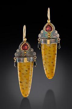 Cynthia Mann earrings - Garnets,   petrified palm wood,   sterling silver, 18k gold    bezels, & 14k