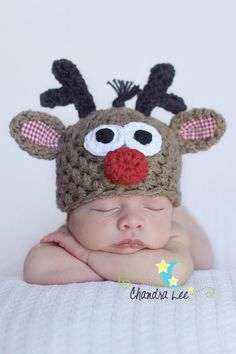 Rudolph Reindeer Christmas HatCostumes baby boy hat by UniqueKidz, $30.00