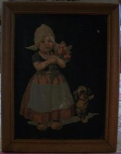 vintage picture Dutch girl puppy & tulips by ALEXLITTLETHINGS, $29.00