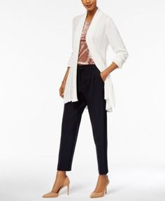 Ny Collection Textured Open-Front Cardigan - Green XS