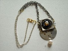 Steampunk Pearl necklace vintage watch by DesignbyTalarico on Etsy, $37.00