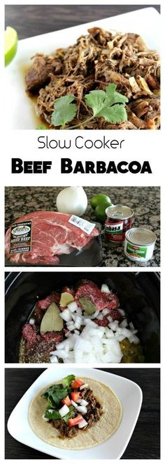 Slow Cooker Beef Barbacoa is full of flavor and so tender and juicy! The perfect simple recipe for an amazing dinner a party or game day! This recipe is delicious on its own in tacos burritos salad quesadillas and so much more! Slow Cooker Fajitas, Slow Cooker Enchiladas, Slow Cooker Lasagna, Slow Cooker Roast, Slow Cooker Barbacoa, Mexican Food Recipes, Beef Recipes, Cooking Recipes, Slow Cooker Recipes Mexican
