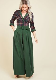 In this golden era of inspiration, you feel encouraged to sport this bold green jumpsuit - an exclusive colorway to ModCloth. Inspirited by its gathered bust, earth-toned plaid bodice, and broad waistband boasting a self belt, you step out like a starlet, swishing the pleated, skirt-like legs of this one piece with an unmatched sense of confidence!