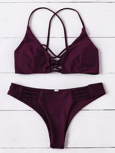 Burgundy Criss Cross Design Bikini Set Mobile Site