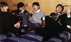 The Beatles jamming on a bed in Sweden (1963)