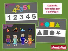 Mediante jogos de arrastar e soltar, as crianças distinguirão e associarão formas, números, letras, cores e tramas. Maui Mini Aplicativo Jogos Educativos.