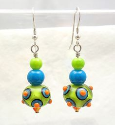 Colorful+&+Bright+Summer+Artisan+Handmade+Earrings+by+imakebeads,+$20.00
