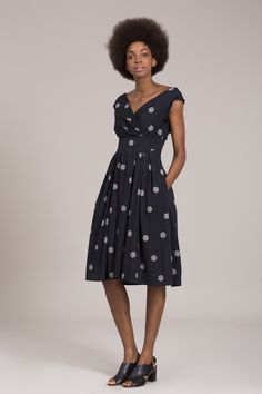 Emily And Fin Holly Dress In Navy With Cream Falling