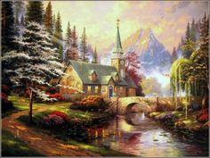 """Dogwood Chapel"" by Thomas Kinkade"