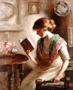 Um bom livro,  s/d Mona Hopton Bell ( Inglaterra, período de atividade 1903-1920) Óleo sobre tela Bonham's Auction House