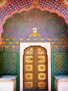 Colourful doorway at City Palace, Jaipur, India Author: peekadora Islamic Architecture, Art And Architecture, To Go, Unique Doors, Incredible India, Doorway, Oh The Places You'll Go, Marrakech, Windows And Doors