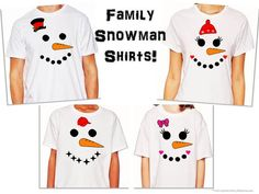 Be jolly happy souls this Christmas with AppleCopters Matching Snowmen Shirts! Theres one for every member of the family! Crisp white T-shirts with
