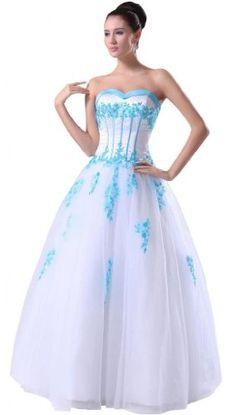 c0643c673c Elegant white sweetheart a-line floor length tulle wedding dress TY020 (4