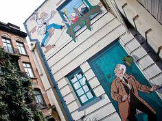 comic strip wall mural 2 Another comic strip wall mural in Brussels. Stripped Wall, Brussels, Comic Strips, Wall Murals, Past, Destinations, Street View, Sky, Future