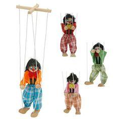 Marionet Clown hout 35 cm