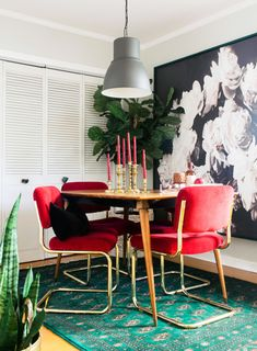 Black velvet lumbar pillow cover in the dining room of blogger/designer Claire Brody (clairebrodydesigns.com)