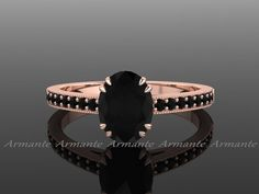 Black Diamond Engagement Ring, Natural Black Diamond Vintage style Engagement Ring 14K Rose Gold Oval Diamond Ring RE00014R by Armante on Etsy