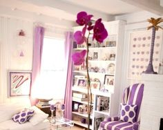 Coastal Living with Radiant Orchid Purple -Pantone Color of 2014. Ideas for M's room. She loves purple.