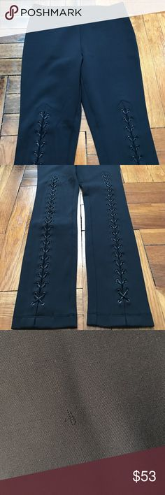 Bcbgmaxazria Beau lace up leggings Worn once, sample peace from Bcbgmaxazria! Little scratch pic #3., pull on, self: silky pointe- nylon, spandex, trim: faux leather cording! Style pair with sweater and booties for work to weekend chic BCBGMaxAzria Pants Leggings