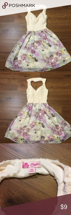 Candies floral print dress A beautiful Candies dress, perfect for spring, lace on top and floral print on bottom, with a super cute heart cutout on the back Candie's Dresses Midi