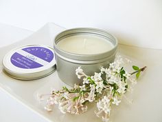 Lilac scented soy candle in 8 oz metal tin by AromaScentsLLC