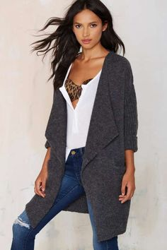 J.O.A. Malia Knit Cardigan - Charcoal - Sweaters