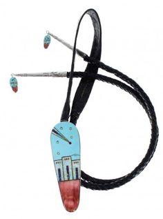 Native American Pueblo Design Multicolor Inlay Silver Bolo Tie EX64080 $299.99