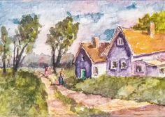 """""""Path Home"""" Original ACEO Miniature Watercolor Rural Landscape Painting ~ BRJ #Miniature"""