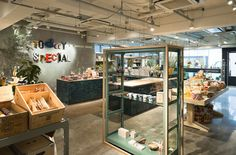 Today's Special Jiyugaoka flagship store by Schemata Architects, Tokyo store design Japan Design, Visual Merchandising, Hanging Potted Plants, Clothes Shelves, Retail Solutions, Branding, Architecture Office, Shop Window Displays, Design Furniture