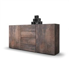 Sideboard Cabinet Chest of Drawers Massa in Antique Steel optic