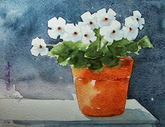 Watercolor Paintings by RoseAnn Hayes: Periwinkles Watercolor Painting
