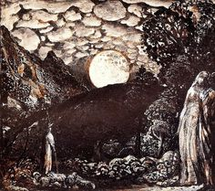'Shepherds under a Full Moon'. 1827 - Samuel Palmer