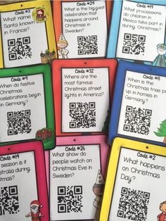 Christmas: Christmas Around the World {QR Code Hunt} Reading Activities, Christmas Activities, Listening Station, Listening Centers, Holidays Around The World, Around The Worlds, Science And Technology, Technology Lessons, Thematic Units