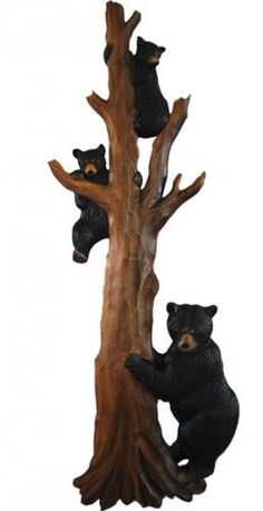 """A bear and cubs climb a tree in this great wood carving.This carved sculpture will look great on the cabin or lakehouse wall.32"""" High"""