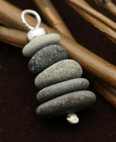 Miniature Cairn pendant is made in USA from real Cape Cod beach stones. Option to add sterling silver necklace chain.