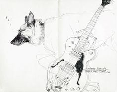 Francis Vallejo    Sketchbook pages. Girls, sleepy dogs, and guitars. Word. fv