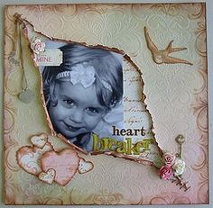 scrapbook Page layout- easy to do by folding the paper diagonally, then tear the center out. 12x12 Scrapbook, Vintage Scrapbook, Scrapbook Designs, Scrapbook Sketches, Scrapbook Page Layouts, Decoupage, Collage, Altered Art, Envelopes