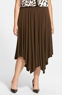 Vince Camuto 'Rumple' Handkerchief Hem Midi Skirt (Plus Size) available at #Nordstrom