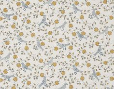 Bengali wallpaper in ochre by Braquenié -- love this color combo, but especially love the Indian bird and flower pattern!!
