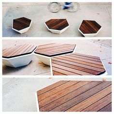 Cristal Bamboo photo-mix. Concrete bench with bamboo wood surface. www.durbanis.co / @Durbanis