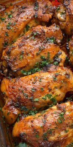 Tender and juicy baked chicken thighs that are seasoned in a smoked paprika spice blend. The BEST chicken dinner recipe served great with a side of mashed potatoes. Oven Baked Chicken Thighs, Juicy Baked Chicken, Chicken Breasts, Bone In Chicken Thighs, Oven Chicken Recipes, Cooking Recipes, Healthy Recipes, Lentil Recipes, Easy Chicken Thigh Recipes Baked