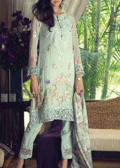 Buy Light Sea green Embroidered Chiffon Dress by Maria B. 2015.