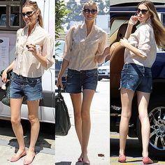 Whitney Port in baggy boyfriend denim shorts