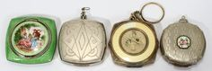 EVANS & OTHER ENAMELED WHITE METAL VINTAGE COMPACTS