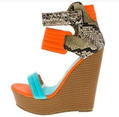 """""""LOUD"""" neon orange wedge heel"""