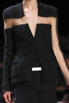 Transparency - structured black cardigan with contrasting sheer panels - close up fashion details