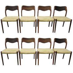 1stdibs.com | Set of 8 J. L. Moller Rosewood Danish Modern Dining Chairs Mid-Century