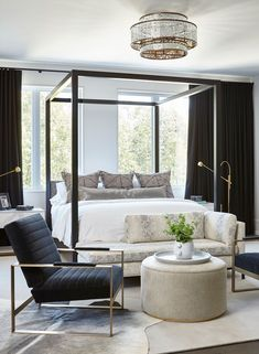 modern bedroom // four poster bed // black and white bedroom design Master Bedroom Design, Home Bedroom, Bedroom Decor, Bedroom Ideas, Master Bedroom Chairs, Bed Room, Beds Master Bedroom, Bedroom Furniture, Bedroom Rugs