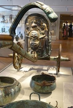 Etruscan bronze Chariot inlaid with ivory, 2nd quarter of 6th century BCE